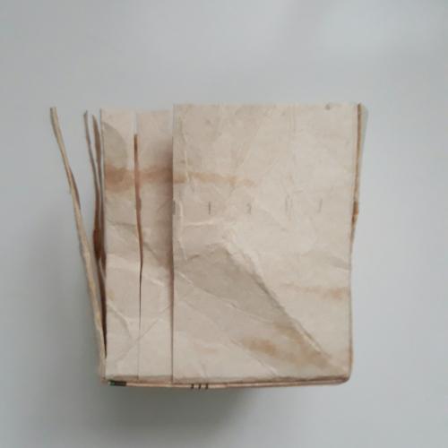 zu sehen ist ein Tetrapack, bei dem die erste Schicht enfernt wurde. Man hat den oberen Teil des Milchkartons entferung. Nun wird der Bodenteil der Länge nach jeden cm eingeschnitten