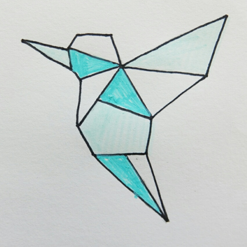 geometrischer Kolibri aus Modelliermasse, Vorlage ausschneiden