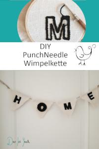 PunchNeedle Wimpelkette selbstgemacht, schöne Homedekoration