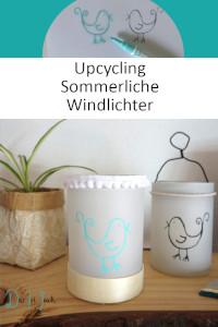 Sommerliche Windlichter aus Transparentpapier, selbstmachen, Basteln, Upcycling aus Schraubglas