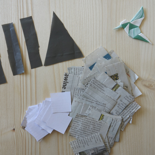 Geometrischer Wandblumentopf, Zeitungspapier und weißes Papier zurecht schneiden