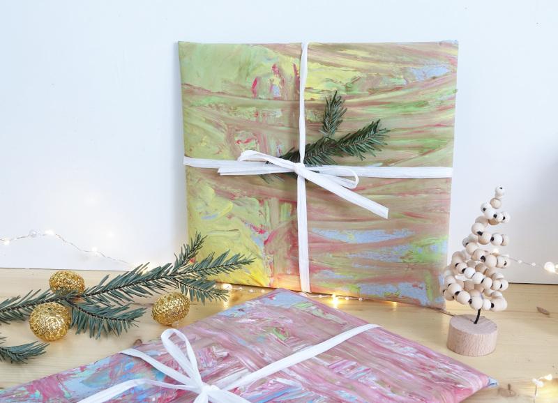 Geschenke verpacken ohne Müll, Weihnachten, Fingerfarben