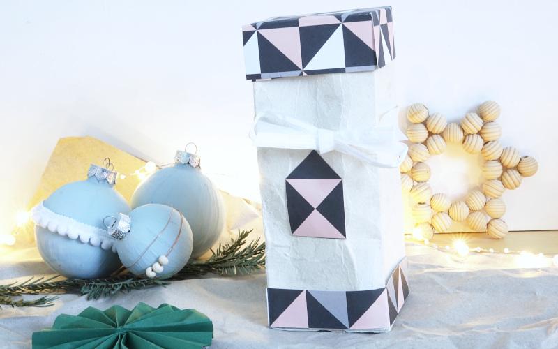 Geschenke nachhaltig verpacken, Weihnachten,Tetrapack mit Deckel