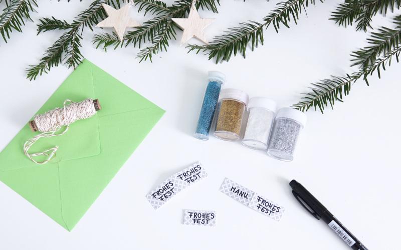 Weihnachtskarten basteln, Beschriftung / Text vorbereiten