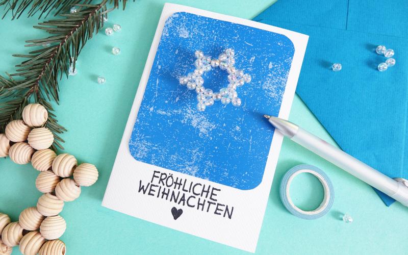 Weihnachtskarten basteln mit Stern aus Perlen
