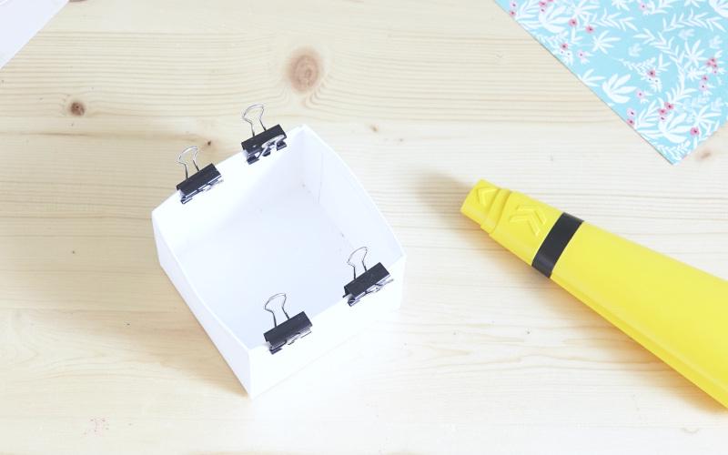 Speiseplan in Karteibox basteln, Box zusammenkleben