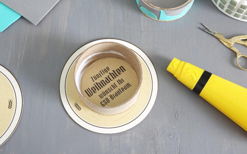 Utensilio selber machen Bieruntersetzer aufkleben