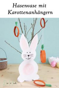 Osterdeko Upcycling Karottenanhänger mit Osterhasenvase