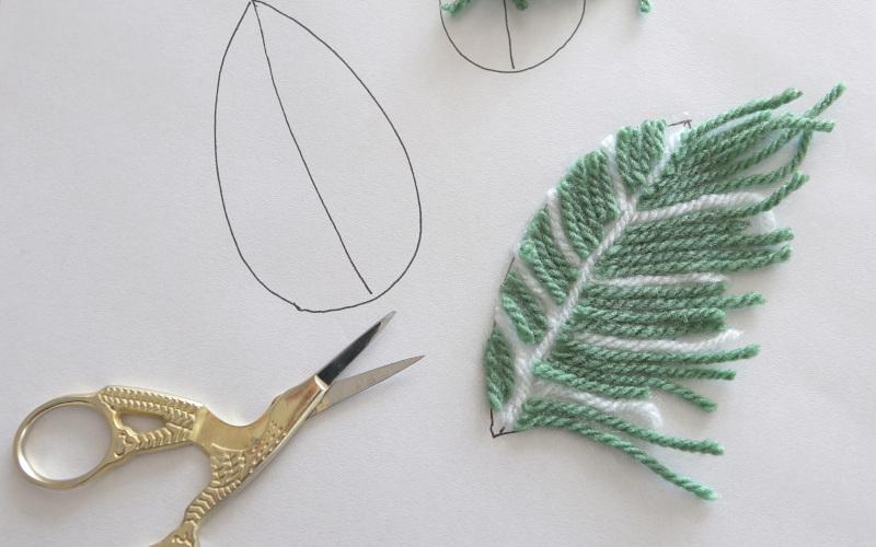 Wolle zu Blattform schneiden